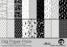 "Digi-Papers ""Christmas 5 - white black"""