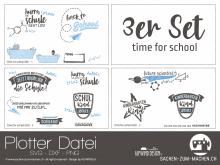 """Plotter-Datei """"time for school"""" (3er-Set)"""
