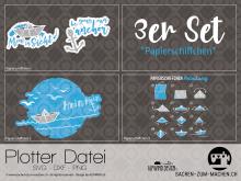 """Plotter-Datei """"Papierschiffchen"""" (3er-Set)"""