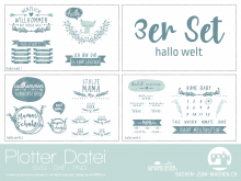 "Plotter-Datei ""hallo welt"" (3er-Set)"