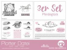 """Plotter-Datei """"Pferdeglück"""" (3er-Set)"""