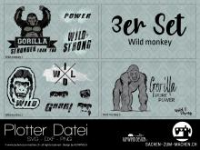 """Plotter-Datei """"wild monkey"""" (3er-Set)"""