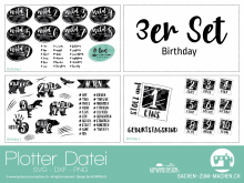 """Plotter-Datei """"birthday"""" (3er-Set)"""