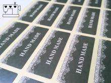 """""""hand made - braun"""" Aufkleber  4.5x1.7cm, 2 Bögen (40 Sticker)"""