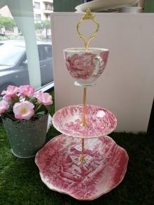 Etageren Stangen 3-stöckig Rose/gold