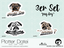"Plotter-Datei ""pug dog"" (3er-Set)"