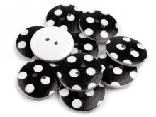 Holz-Knopf - Punkte schwarz/weiss 25.4mm