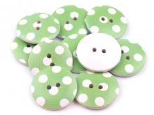 Holz-Knopf - Punkte lindengrün/weiss 25.4mm