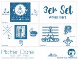 """Plotter-Datei """"Anker Herz"""" (3er-Set)"""