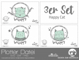 "Plotter-Datei ""Happy Cat"" (3er-Set)"