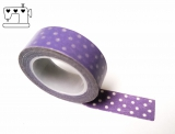 Masking Tape Punkte lila/weiss 1.5cm/10m