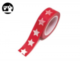 Masking Tape Sterne rot/weiss 1.5cm/10m