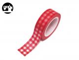 Masking Tape Karo rot/weiss 1.5cm/10m