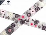 "Ripsband, 22mm ""Blumen-geometrisch grau/rosa"""