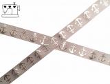 "Ripsband, 22mm ""Ankergrau/silber - bling"""
