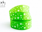"Ripsband, 25mm, ""stars green/white"""
