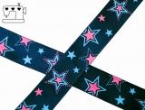 "Ripsband, 25mm, ""stars navy/pink"""