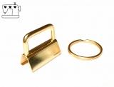 5 St. Schlüsselanhänger Rohlinge 25mm inkl. Ring - gold