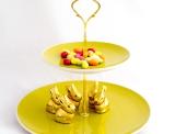 Etageren Stangen 3-stöckig Blume/gold