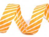 Schrägband 14mm gestreift gelb/weiss