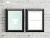 """Postkarte """"Katze-mint"""""""