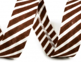 Schrägband 14mm gestreift braun/weiss