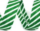 Schrägband 14mm gestreift grün/weiss