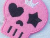 "Bügelbild - ""skull-pink"", 50x55mm"