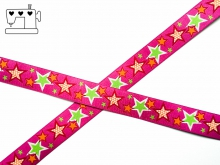 """Webband ZNOK """"Sterne pink"""" 20mm"""