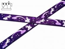 """Webband """"unicorn wonderland"""" - Einhorn violett"""