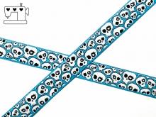 "Webband ""crazy skulls"" - hellblau"